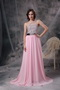 One Shoulder Baby Pink Chiffon Beaded Prom Party Dress Inexpensive