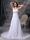 Princess White Chiffon Prom Pageant Dress With Beading Inexpensive
