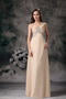 Straps Brush-length Champagne Chiffon Prom Dress Cross Back Inexpensive