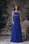 Royal Blue Wide Straps Chiffon 2014 Prom Dress Floor-length Inexpensive