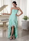 Cheap Prom Dress With Aquamarine Layers High Low Skirt Inexpensive