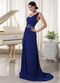 Royal Blue One Shoulder Chiffon Skirt Dress For Party Occassion Inexpensive