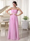Baby Pink Chiffon Sweetheart Prom Dress With Appliques Decorate Waist Inexpensive