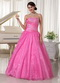 Hot Pink Long A-line Puffy Skirt Prom Dress With Embroidery Inexpensive