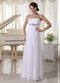 White Beaded Chiffon Simple Prom Dress Empire Floor-length Inexpensive