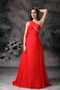 Red A-line One Shoulder Chiffon Pageant Prom Dress Cheap Inexpensive