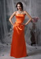 Strapless Simple Long Prom Dress In Orange Red Inexpensive