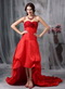 Short Front Long Back Red Organza Hi-Lo Prom Dress Inexpensive