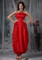 Red Column Strapless Ankle-length Organza Bow Prom Dress Inexpensive