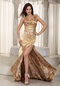 Golden One Shoulder Special Occasion Prom Dress With Leopard Inexpensive