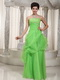 Spring Green Strapless Prom Dress Made By Organza Low Price Inexpensive