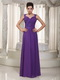 Purple Chiffon 2014 Prom Dress With Straps Floor-length Skirt Inexpensive