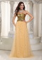 Gold Sequin And Net Long Women Prom Dress Top Seller 2012 Inexpensive