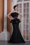 Black Mermaid Strapless Ruffles Neck Prom Gowns Dress Petite Inexpensive