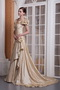 Handcrafted Flowers Neck Champagne Dress For Prom Party Inexpensive
