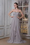 Dark Gray Chiffon Beading Prom Gowns With Empire Skirt Inexpensive