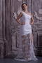 One Shoulder Watteau Train Transparent Appliuqes Skirt Prom Dress Inexpensive