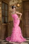 Mermaid Hot Pink Organza Ruffles Prom Dress With Hand Made Flower Inexpensive