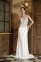 Column Spaghetti Straps White Chiffon Prom Dress With Colorful Crystals Inexpensive