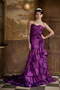 Mermaid Sweetheart Purple Taffeta Prom Gowns Dress With Ruffles Skirt Inexpensive