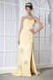 Sweetheart Light Yellow Chiffon Sequins Prom Dress With Side Split Inexpensive