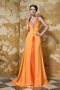 Orange Chiffon V neckline Best Sell Prom Gown With Front Split Inexpensive