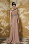 One Shoulder Floor-length Brown Chiffon Prom Dress With Beaded Sash Inexpensive