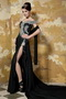 Black Column One Shoulder Chapel Train Prom Dress With Beading Bodice Inexpensive