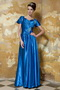 Royal Blue V-neck Floor-length Taffeta Prom Dress With Short Sleeve Inexpensive