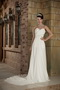 Simple Sweetheart Court Train Ivory Chiffon Prom Dress For Wedding Inexpensive