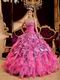 Hot Pink Ball Gown Sweetheart Leopard Print Floor-length Beading Leopard and Organza Quinceanera Dress Sweetheart Hot Pink Organza And Leopard Print Ruffled Quinceanera Dress