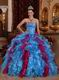 Exclusive Carmine And Cornflower Blue Ruffle Skirt Quinceanera Gown