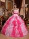 Multi-color Pink and Hot Pink Ruffles Skirt 2014 Contrast Quinceanera Dress