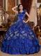 Royal Blue Sequined Flower Quinceanera Gown With Lotus Leaf Design