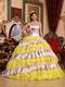 Sweetheart Yellow Organza And Printed Layers Dress Quinceanera