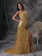 Golden Sequin V-neck Long Skirt With Split Night Club Dress Luxury