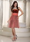 Rust Red Short Prom Dress With Birds Feather Printed Design Luxury