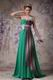 Turquoise Contrast Color Chiffon Fabric One Shoulder Prom Dress