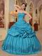 Teal Blue Designer Puffy Quinceanera Dress For 2014 Winter