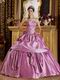 Mature Layers Skirt Fuchsia Quinceanera Gown By Designer