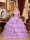Lilac Cascade Layers Skirt Quinceanera Prom Dress Cute