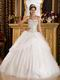 Flaring Sweetheart Sequined Fabric White Quinceanera Dress