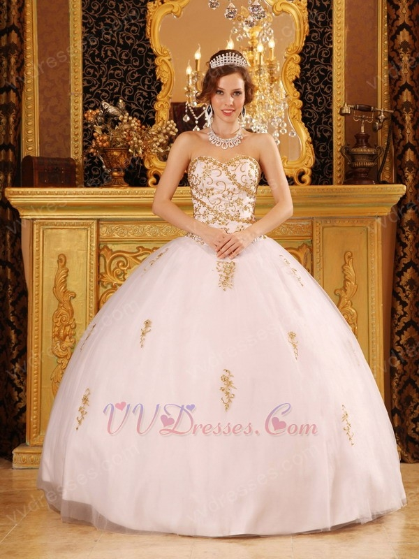 List White Quinceanera Dress With Golden Details