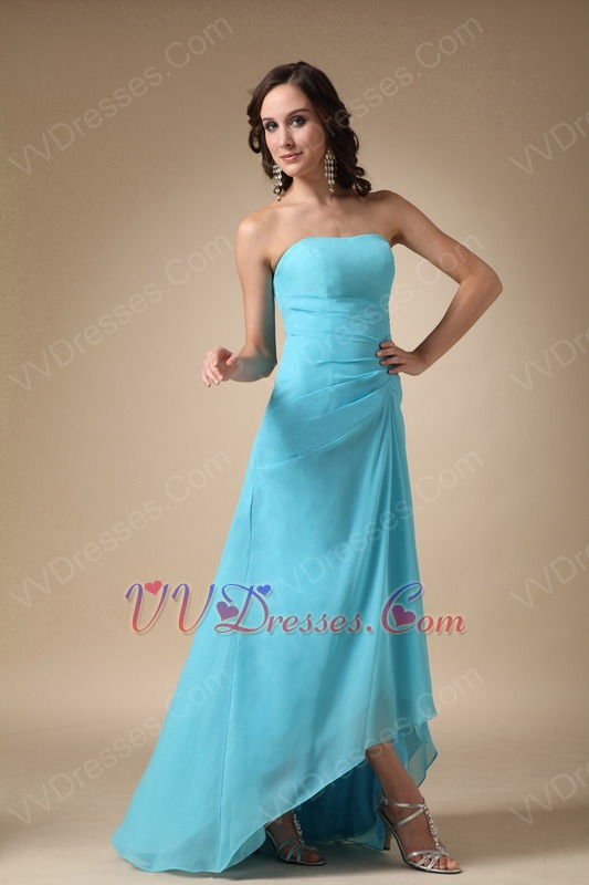Aqua blue high low chiffon dress to bridesmaid wear for Aqua blue dress for wedding