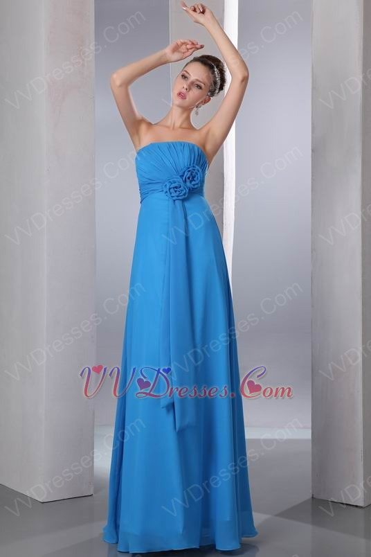Front Flowers Decorate Dodger Blue Long Bridesmaid Dress