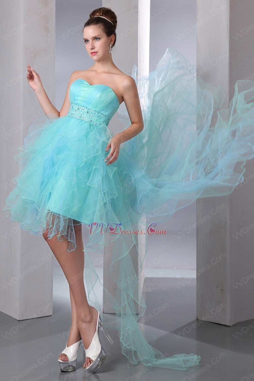 Beautiful Beaded Belt High Low Aqua Cocktail Dress For Cheap
