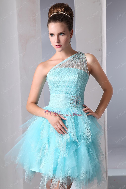 Cute One Shoulder Cascade Skirt Aqua Graduation Dress