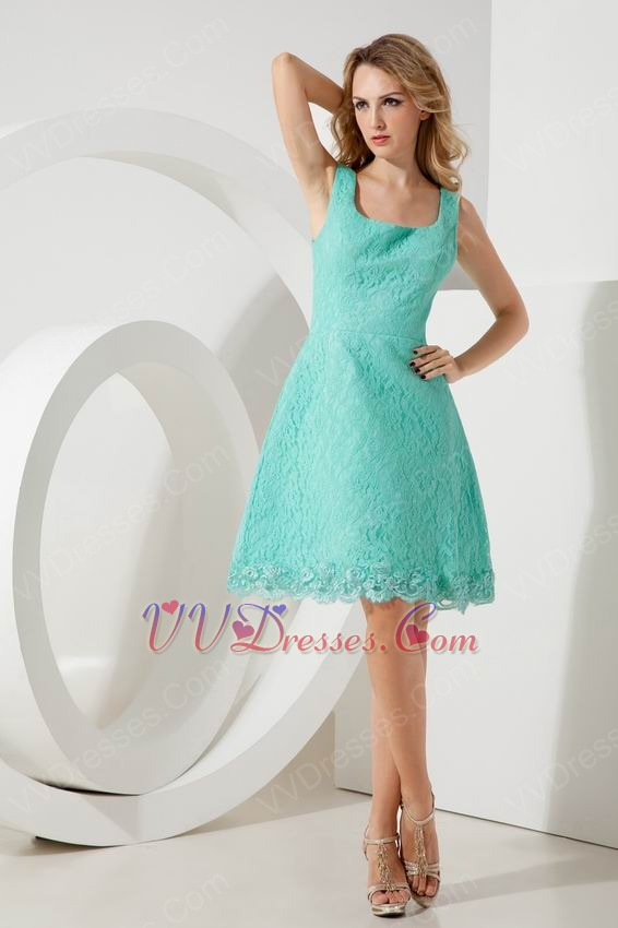 Square Turquoise Lace Junior Graduation Dress