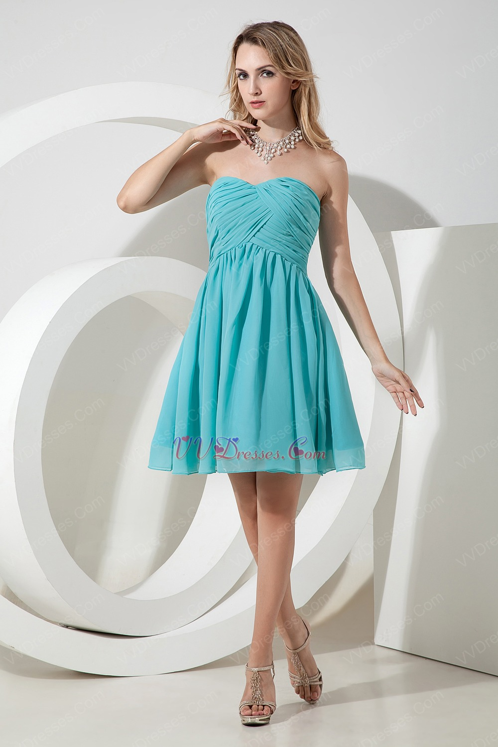 Simple Sweet heart Spring Turquoise Bridesmaid Dress