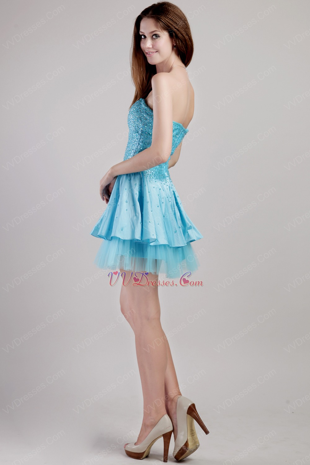 Aqua Blue Sweetheart Mini Sequined Cocktail Party Dress